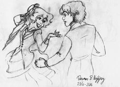 Rasmus B Najbjerg. Pencil. Concept art of a woman and a man