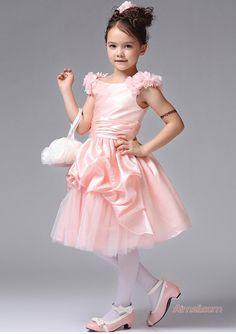 2015 Flowers Pink Taffeta Tulle Zipper Sleeveless Scoop Ruched Knee Length Flower Girl Dresses FGD2502