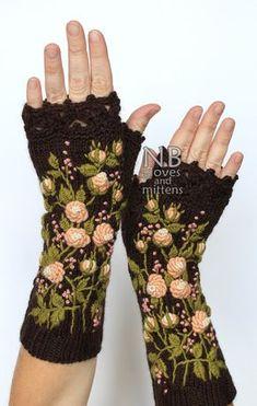 Knitted Fingerless Gloves Roses Brown Peach by nbGlovesAndMittens