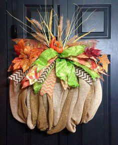 Burlap Fall Pumpkin Wreath by WreathsbyLaura on Etsy, $75.00