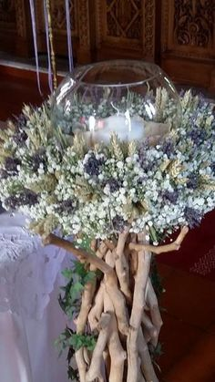 #wedding #ceremony Wedding Table, Diy Wedding, Rustic Wedding, Wedding Flowers, Wedding Ceremony, Driftwood Wedding, Driftwood Centerpiece, Church Candles, Church Flowers