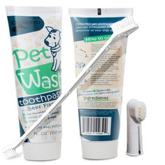 OxGord 14 oz. Pet Dog Toothpaste Dental Care Kit with Dual Toothbrush for Oral Hygiene-Fights Plaque Freshens Breath- Cleans and Restores-2 pack - Beef Flavor -- Awesome dog product. Click the image : Dog supplies for health