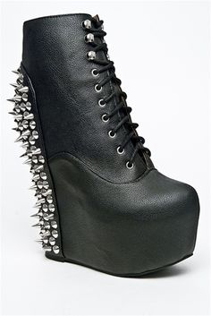 """Can you say """"BAD ASS""""? #spikes #booties #platformboots #blackboots #womensfashion #badass #laceupboots"""