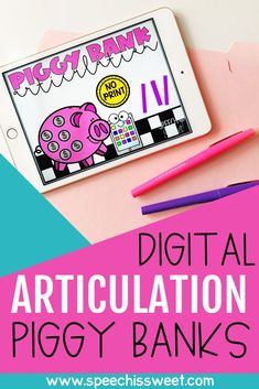Digital Articulation Piggy Bank Games {A Growing Speech Therapy Bundle} Phonics Flashcards, Articulation Therapy, Articulation Activities, Speech Therapy Activities, Language Activities, Bank Games, Dice Games, Banks, Play Therapy Techniques