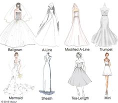 Get a breakdown of the different wedding gown silhouettes, and find the best fit for your body type.