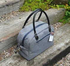 Bowling Bag, Tweed Bowling bag, zip top bowling bag, Retro style bowling bag with leather handles