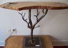 Forged Steel Base with Oak Top by GeraldGardner on Etsy, $795.00