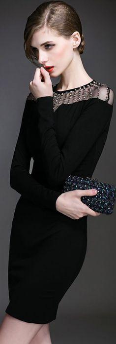Black Sequins Mesh Trimmed Dress