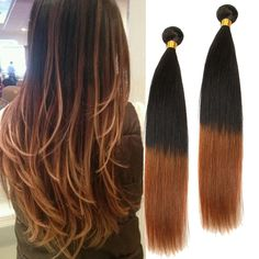 50g/Pc Straight Real Human Hair Extensions Beautiful 1B/30#  Ombre Hair Weaving #WIGISS #HairExtension
