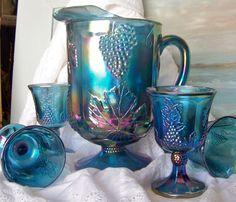 Pitcher Goblets Blue Carnival Glass Iridescent Pitcher Glasses Grape Cluster 1970s