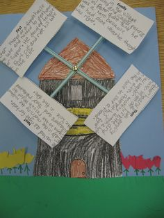 Story Sequencing:  this is a visually engaging, creative way of developing awareness of order of events in a story.  Students write on windmill the order of events.
