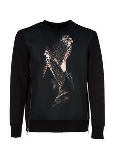 NEIL BARRETT Neil Barrett Bird Print Sweatshirt. #neilbarrett #cloth #fleeces-tracksuits