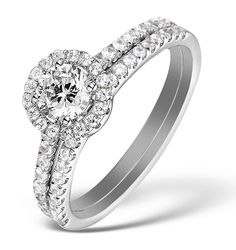 2 Ring Bridal Set 1ct H/SI2 Diamonds and 18K White Gold - DN3242-JU4Y. #thediamondstoreuk #diamonds #bling #sparkle #bridalset #weddingring #engagementring #rings