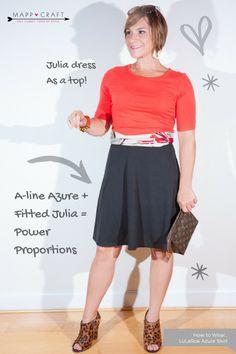 LuLaRoe Key Piece #4: Azure Skirt, Black under Julia Dress as a Top