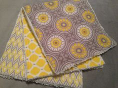 Super stylish for baby and mom! Gray and Yellow Designer Cotton Burp Cloth Set, Chenille Back, Stylish, Gender Neutral, Gift on Etsy, $22.50