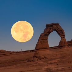 Seeing the #Supermoon is an incredible experience. It hasn't been this close in its orbit around the Earth since 1948, and won't be again until 2034. This is an in-camera double exposure of the supermoon near Delicate Arch in Arches National Park, Utah. For those of you not familiar with a double exposure, it means taking two shots on top of each other, thereby making one image. The moon was actually setting a bit further to the west than my view of Delicate Arch. I hope you'll excuse my use…