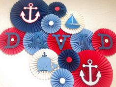 Nautical Paper Fans/ Nautical Birthday/ Under the Sea Birthday/ Red, White, Blue Paper fans/ Nautical Nursery Decor/ Nautical Baby Shower Sailor Baby Showers, Anchor Baby Showers, Boy Baby Shower Themes, Baby Shower Parties, Baby Boy Shower, Sea Baby Showers, Nautical Nursery Decor, Nautical Party, Baby Decor