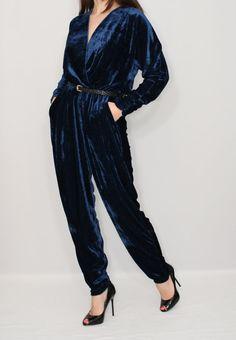 Navy blue jumpsuit Velvet jumpsuit Long sleeve jumpsuit
