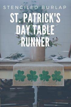 St. Patrick's Day Shamrock Stenciled Burlap Table Runner Decor #stpatricksday #etsy #shamrock #affiliate