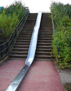 stair slide outdoors and I can hear the screeching on hot metal!