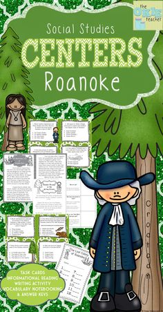 Roanoke unit with task cards, writing activity, vocabulary and lots more for your 5th grade social studies class!