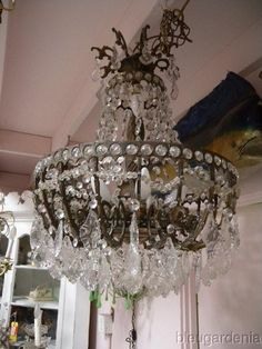 Antique French Crystal Ball Room Chandelier With Low Ceilings For The  Bedroom