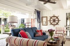 21 Nautical Living Room Decor & Interior Design Ideas – My Home Design 2019 Living Room Red, Coastal Living Rooms, Living Room Decor, Decor Interior Design, Room Interior, Interior Design Living Room, Interior Designing, Interior Decorating, Layout Design