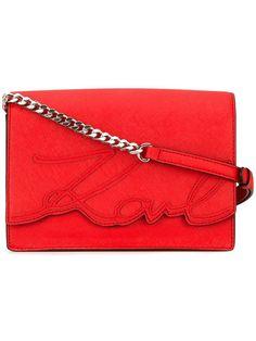 KARL LAGERFELD signature detail crossbody bag. #karllagerfeld #bags #shoulder bags #leather #crossbo