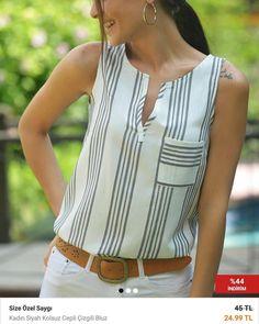 Notitle) - hatice koçak bluz modelleri, 2019 blusas, blusa de linho ve blus Plus Size Holiday Tops, Blouse Styles, Blouse Designs, Vetement Fashion, Short Tops, Blouses For Women, Fashion Outfits, Cheap Fashion, How To Wear
