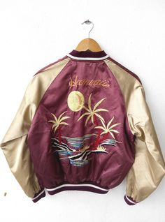 SUKAJAN Japanese Vintage 1990s Embroidery Japan Eagles Hawaii SUKAJAN Reversible Green Jacket Embroidered Souvenirs Bomber Jacket  Tag reads: