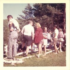 Vintage Photo Men and Woman Outdoors Color by foundphotogallery