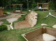 Image result for kids playstuff with hill in back yard