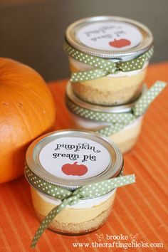 Individual pumpkin cream pies in the cute Mason jars.
