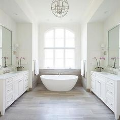 White and Taupe Bathroom with Limestone Chenille White Tiles