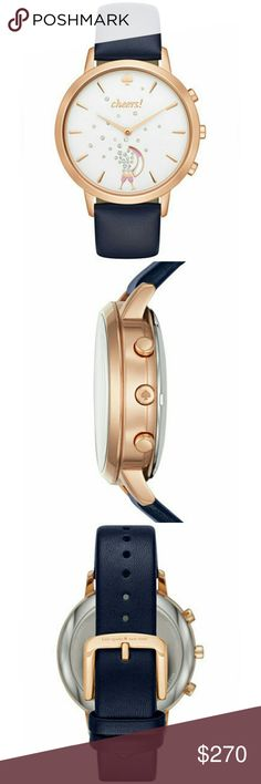 """NWT kate spade new york Hybrid Smartwatch KST23105 This listing is for a brand new kate spade new york hybrid smartwatch KST23105  With tag, box, instruction manual, battery  Rose gold-plated with navy blue leather band strap. Super cute """"cheers"""" champagne glasses design! Looks just like the stock photos, my camera could not get the true color.  Compatible with iPhone and Android! Tracks activity, controls music, alerts on messages and calls, takes photos, and more! Water resistant!  Comes…"""