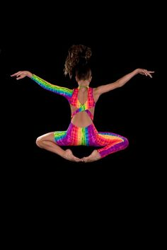 Contemporary Asymmetrical Rainbow Unitard