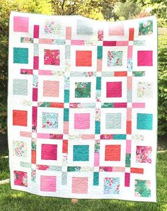 New Dawn – Boxed Up Quilt – Riley Blake Designs Charm Square Quilt, Jellyroll Quilts, Riley Blake, Fun Projects, Bright Colors, More Fun, Dawn, Floral, Blankets