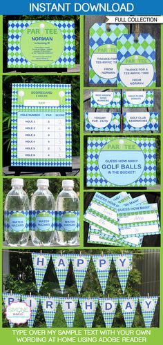 Instantly download my blue Golf Party Printables, Invitations & Decorations! Personalize the templates easily at home & get your party started right now!
