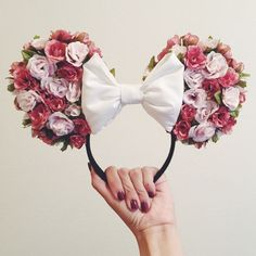 Homemade floral minnie ears, used a tutorial I found on youtube :):