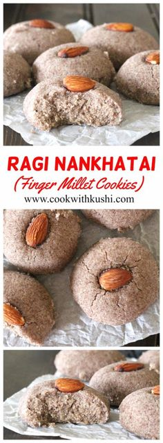 Ragi Nankhatai or Finger Millet Cookies is a light, crunchy and crumbly vegan cookie with delightful aroma of cardamom. In short, melt in mouth cookies that any one will love. Easy No Bake Desserts, Vegan Desserts, Delicious Desserts, Yummy Food, Eggless Desserts, Eggless Baking, Vegan Snacks, Healthy Food, Best Cookie Recipes