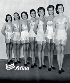 Felina Lingerie Ad - 1950  Vintage German lingerie. No not me my aunt and mother do you know how dam hard it was for me  at ten years old to help them into these things on a hot summer day in a second floor walk up.