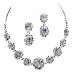 Iridescent AB Regal Statement Bridal Bridesmaid Necklace Earring Set Silver Tone Bling Bride Betty http://www.amazon.com/dp/B00O8J79F8/ref=cm_sw_r_pi_dp_era1ub1JFNTFW