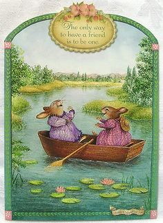 Susan Wheeler Holly Pond Hill Bunny Rabbit Friends Boat Birthday Greeting Card | eBay