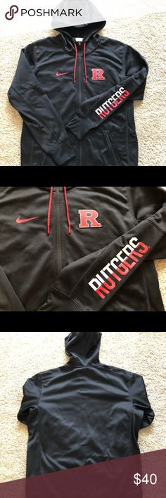 "Rutgers Scarlet Knights NCAA Nike Zip Up Hoody Rutgers Scarlet Knights NCAA Nike Zip Up Hoody, 100% polyester. Black with screen printed Rutgers logo on the left chest and and ""Rutgers"" on the left sleeve. Item has been worn/washed - but shows no major signs of wear or tear. Size Medium.  Center Back Length: 28"" Chest: 44""  Bundle and make me and offer! Nike Jackets & Coats Lightweight & Shirt Jackets"