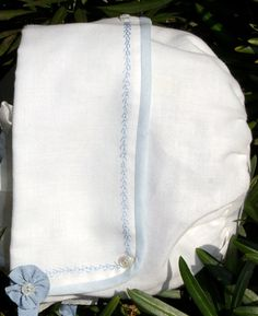 Classic blue and white baby boy bonnet