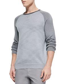 N331H Vince Colorblock Raglan Crew Sweater, Gray
