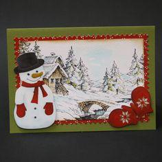 1 van de 4 kaarten van de cursus 'kerstkaarten maken' bij Marjolein Zweed Creatief Stamped Christmas Cards, Merry Christmas Card, Christmas Crafts, Xmas, Snowman Cards, Winter Cards, Stamping Up, Diy Cards, Cardmaking