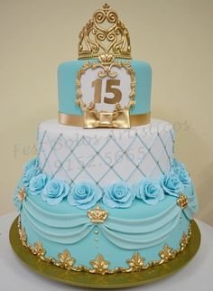 Birthday cake ideas sweet 16 tiffany blue new Ideas Pretty Cakes, Cute Cakes, Beautiful Cakes, Amazing Cakes, Fondant Cakes, Cupcake Cakes, Tiffany Sweet 16, Tiffany Blue, Bolo Fack