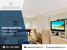 Bridgehampton Traditional New Construction - Modern Family Room Contact us by sending a message on whatsapp and we will contact you 631.287.0891 #alexim #aleximbuilders #southampton #newbuild #interior #interiordesign #homedecor #newbuildhome #home #homesweethome #construction #interiors #homedesign #house #newconstruction #architecture #realestate Hamptons New York, Hamptons House, Custom Home Builders, Custom Homes, Home Developers, Modern Family Rooms, New Home Construction, Southampton, New Builds
