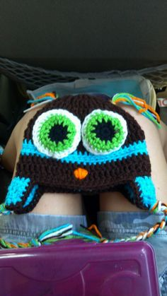 Owl hat...pattern idea can from youtube user bobwilson123. This item was made as a gift for a friend's grandson's birthday.